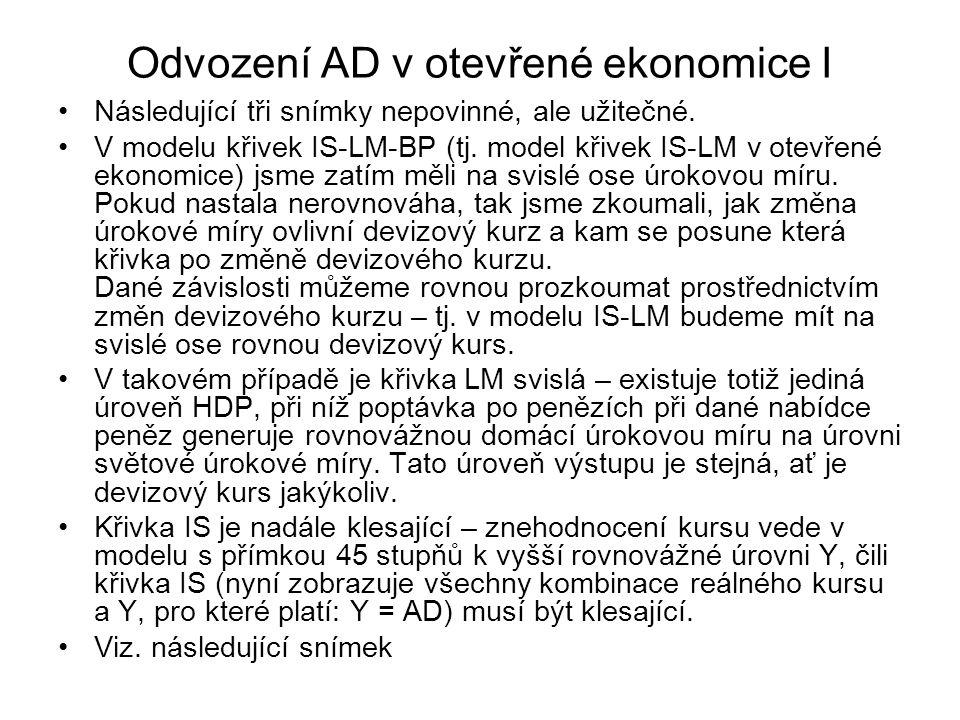Odvození AD v otevřené ekonomice I Následující tři snímky nepovinné, ale užitečné. V modelu křivek IS-LM-BP (tj. model křivek IS-LM v otevřené ekonomi