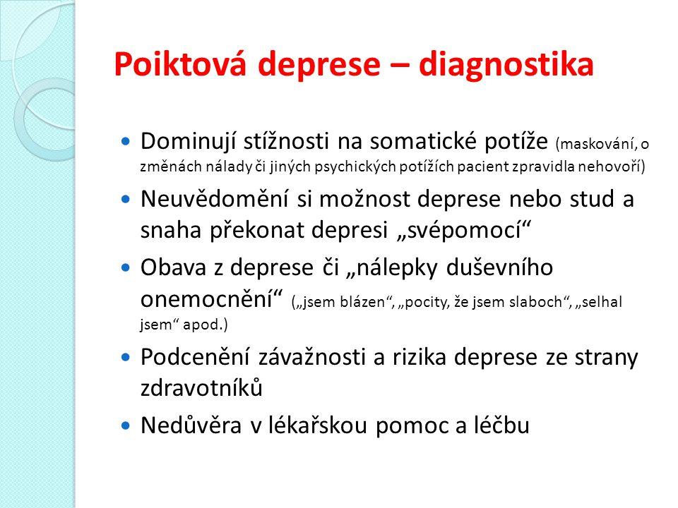 """Poiktová deprese – diagnostika Dominují stížnosti na somatické potíže (maskování, o změnách nálady či jiných psychických potížích pacient zpravidla nehovoří) Neuvědomění si možnost deprese nebo stud a snaha překonat depresi """"svépomocí Obava z deprese či """"nálepky duševního onemocnění (""""jsem blázen , """"pocity, že jsem slaboch , """"selhal jsem apod.) Podcenění závažnosti a rizika deprese ze strany zdravotníků Nedůvěra v lékařskou pomoc a léčbu"""