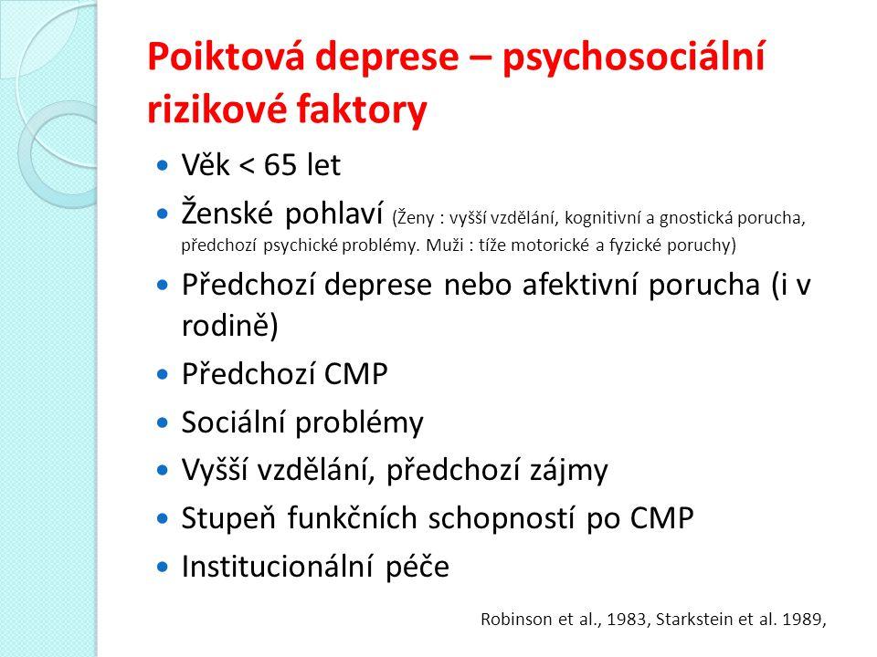 Poiktová deprese - závěry Myslet na možnost deprese po CMP Deprese se vyskytuje cca u 30-50% nemocných s CMP Polovina depresí není diagnostikována a léčena Neléčená deprese = závažné bio-psycho-sociální konsekvence Deprese je léčitelná Hlavní lékovou skupinou velké deprese jsou v současné době SSRI (ústup deprese, neuroprotektivní účinek, neurogeneze)