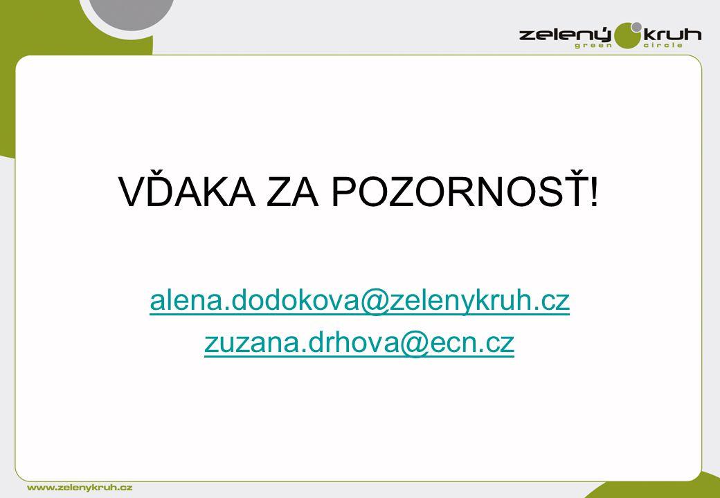 VĎAKA ZA POZORNOSŤ! alena.dodokova@zelenykruh.cz zuzana.drhova@ecn.cz