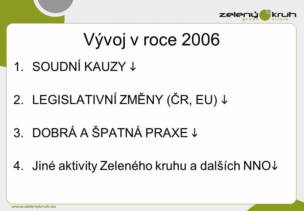 Vývoj v roce 2006 1.SOUDNÍ KAUZY  2.LEGISLATIVNÍ ZMĚNY (ČR, EU)  3.DOBRÁ A ŠPATNÁ PRAXE  4.Jiné aktivity Zeleného kruhu a dalších NNO 
