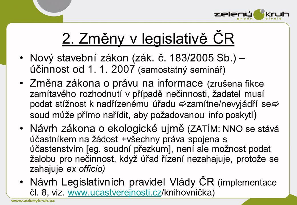 2. Změny v legislativě ČR Nový stavební zákon (zák.