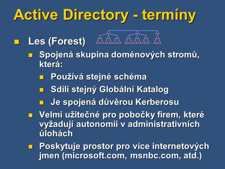 Active Directory - termíny Les (Forest) Les (Forest) Spojená skupina doménových stromů, která: Spojená skupina doménových stromů, která: Používá stejn