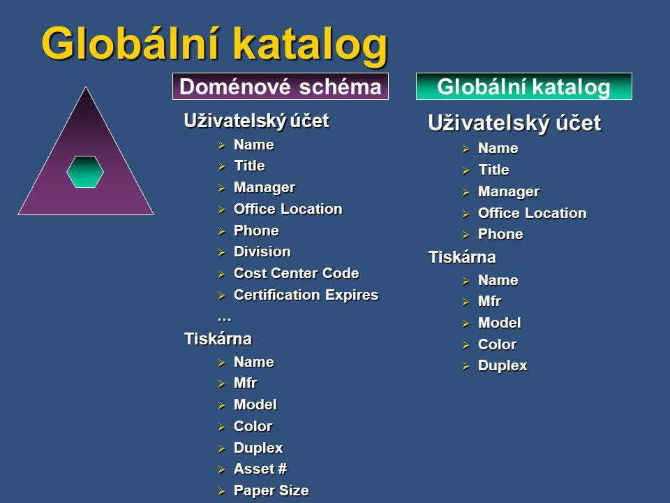 Doménové schéma Globální katalog Uživatelský účet  Name  Title  Manager  Office Location  Phone  Division  Cost Center Code  Certification Exp