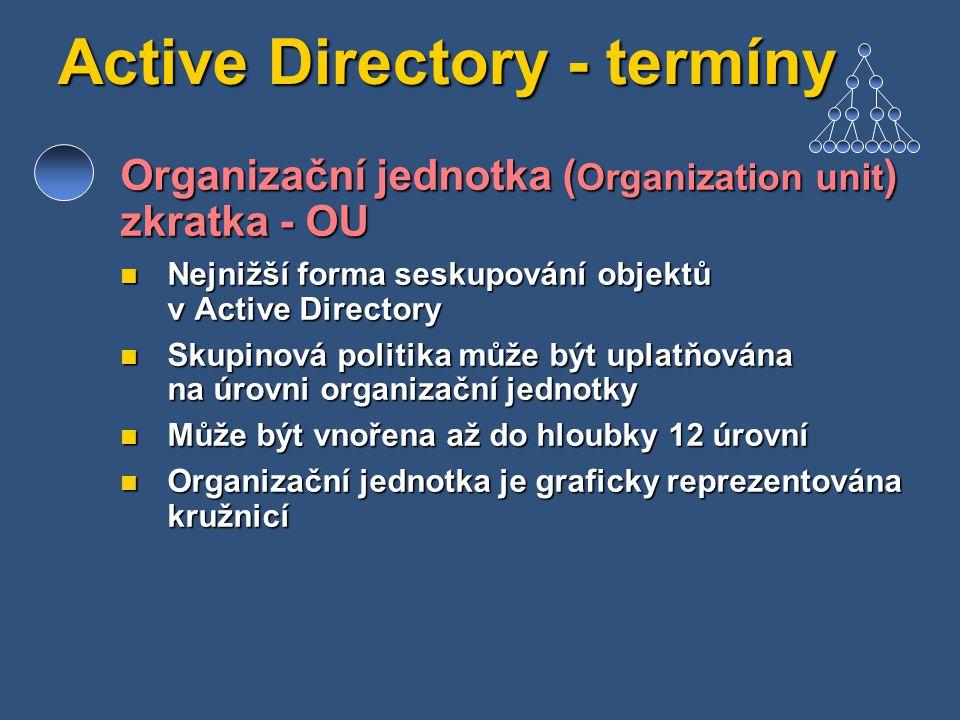 Active Directory - termíny Organizační jednotka ( Organization unit ) zkratka - OU Nejnižší forma seskupování objektů v Active Directory Nejnižší form