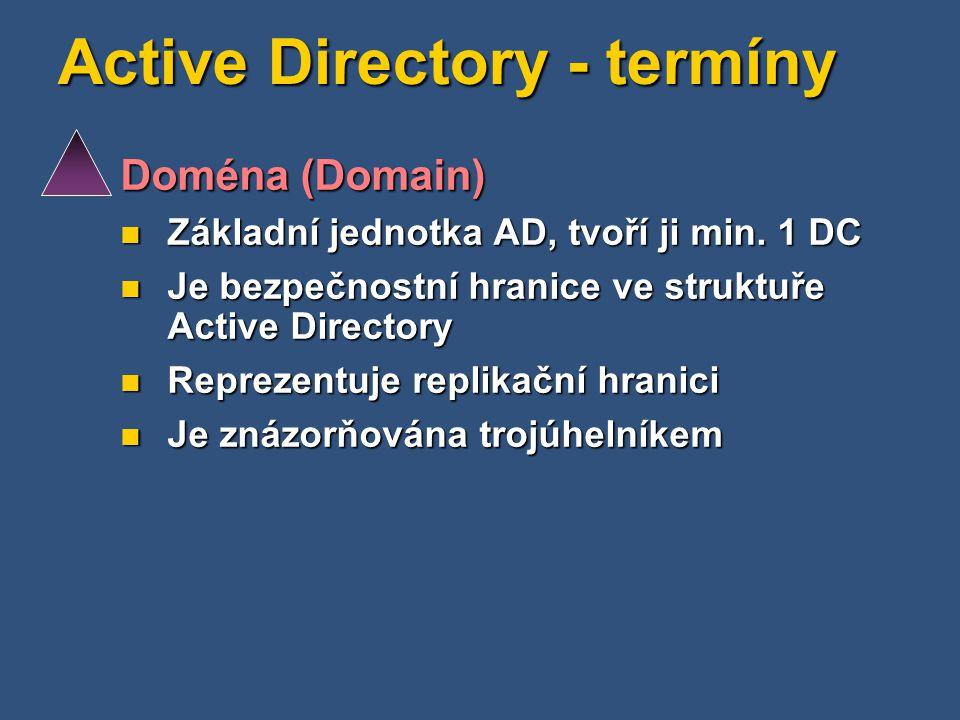 Active Directory - termíny Doména (Domain) Základní jednotka AD, tvoří ji min. 1 DC Základní jednotka AD, tvoří ji min. 1 DC Je bezpečnostní hranice v