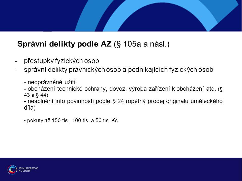 Správní delikty podle AZ (§ 105a a násl.) -přestupky fyzických osob -správní delikty právnických osob a podnikajících fyzických osob - neoprávněné uži