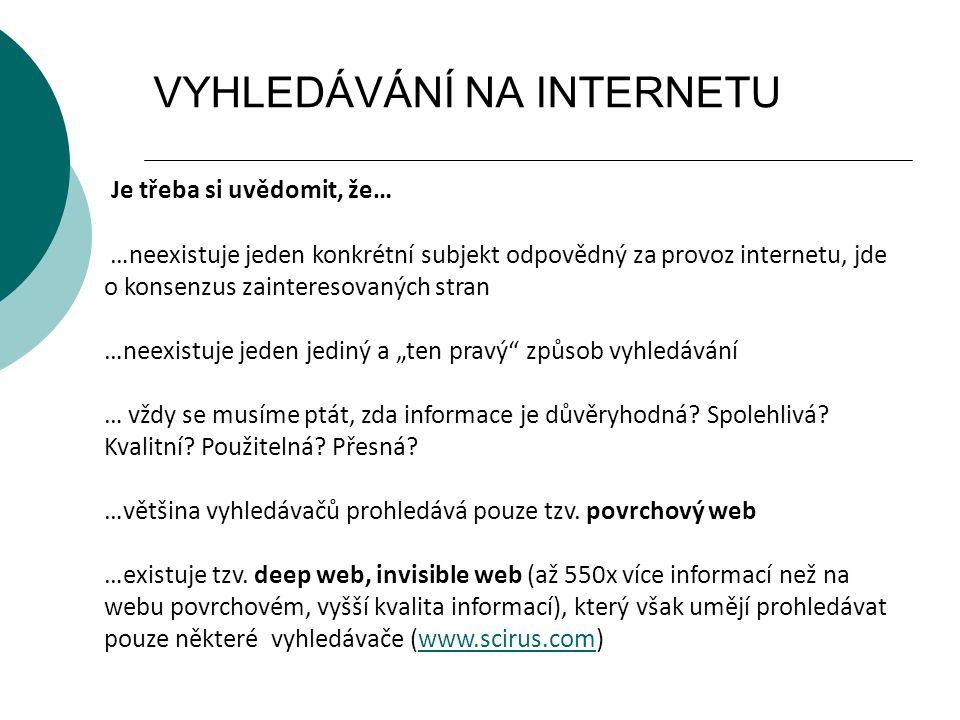 VYHLEDÁVÁNÍ NA INTERNETU Je třeba si uvědomit, že… …neexistuje jeden konkrétní subjekt odpovědný za provoz internetu, jde o konsenzus zainteresovaných