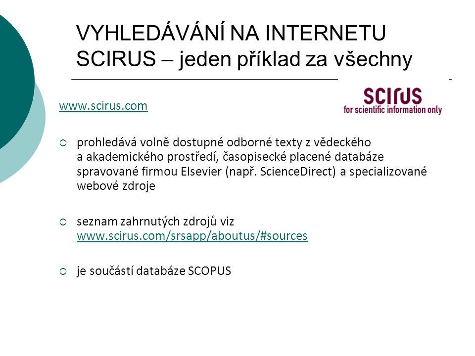 VYHLEDÁVÁNÍ NA INTERNETU SCIRUS – jeden příklad za všechny www.scirus.com  prohledává volně dostupné odborné texty z vědeckého a akademického prostře