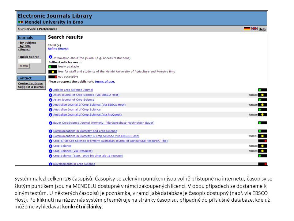 Systém nalezl celkem 26 časopisů. Časopisy se zeleným puntíkem jsou volně přístupné na internetu; časopisy se žlutým puntíkem jsou na MENDELU dostupné