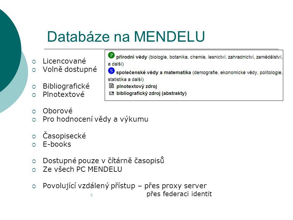 Databáze na MENDELU  Licencované  Volně dostupné  Bibliografické  Plnotextové  Oborové  Pro hodnocení vědy a výkumu  Časopisecké  E-books  Do