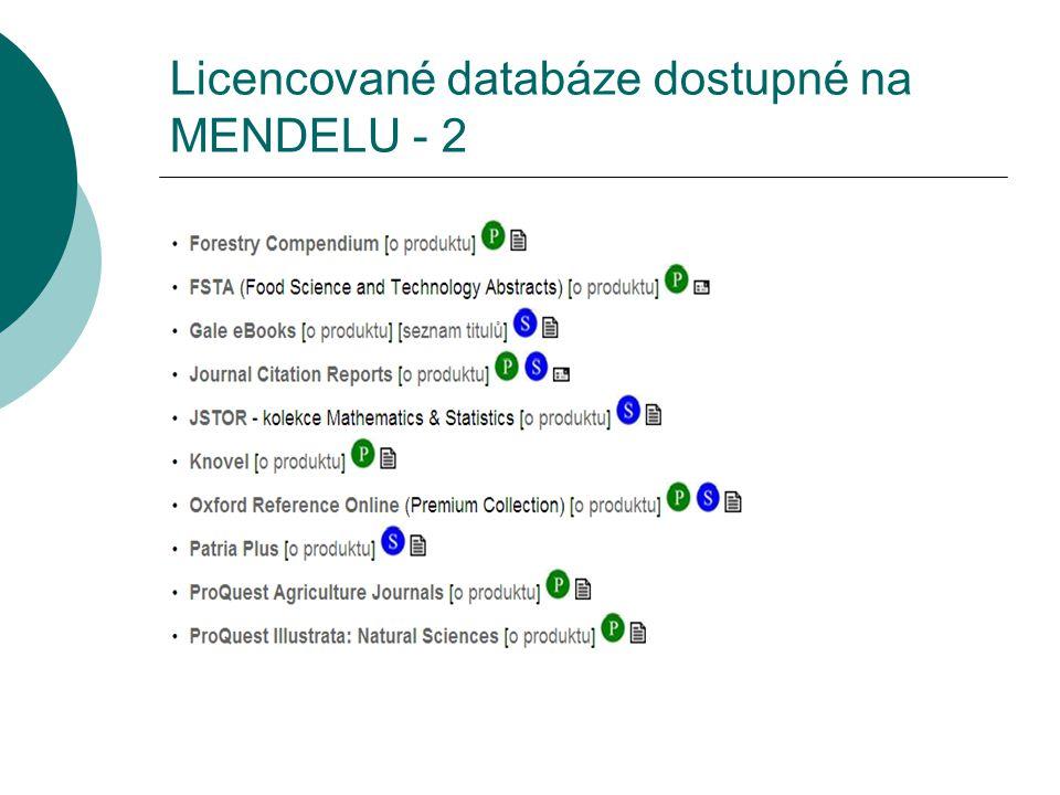 Licencované databáze dostupné na MENDELU - 2