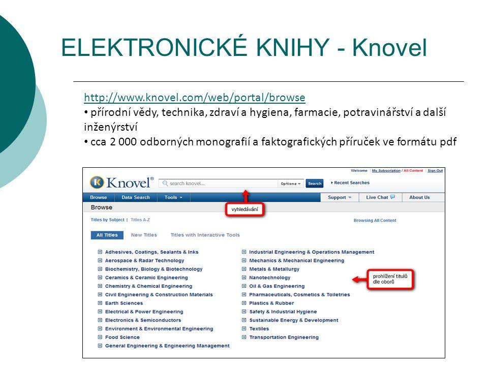 ELEKTRONICKÉ KNIHY - Knovel http://www.knovel.com/web/portal/browse přírodní vědy, technika, zdraví a hygiena, farmacie, potravinářství a další inžený