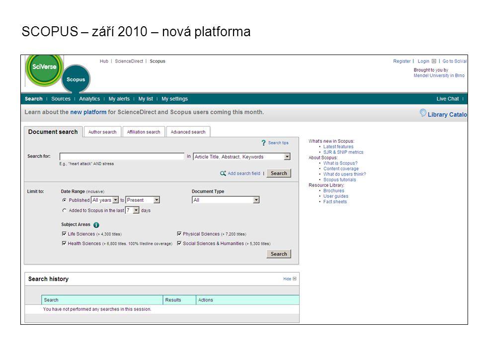 SCOPUS – září 2010 – nová platforma