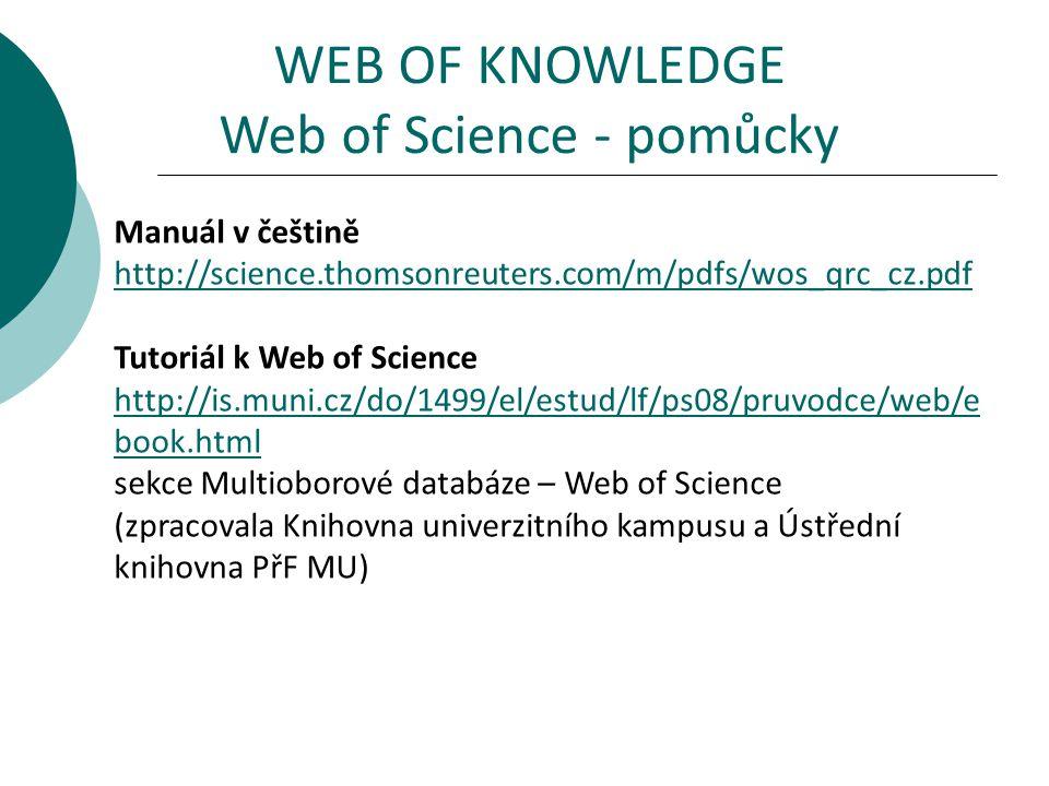 Manuál v češtině http://science.thomsonreuters.com/m/pdfs/wos_qrc_cz.pdf Tutoriál k Web of Science http://is.muni.cz/do/1499/el/estud/lf/ps08/pruvodce