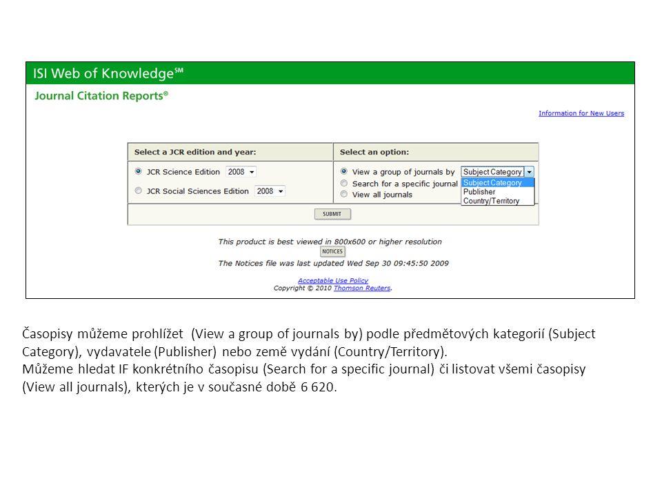 Časopisy můžeme prohlížet (View a group of journals by) podle předmětových kategorií (Subject Category), vydavatele (Publisher) nebo země vydání (Coun