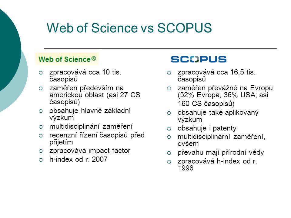 Web of Science vs SCOPUS  zpracovává cca 10 tis. časopisů  zaměřen především na americkou oblast (asi 27 CS časopisů)  obsahuje hlavně základní výz