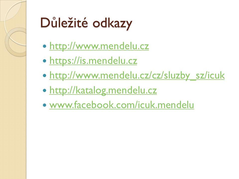 Důležité odkazy http://www.mendelu.cz https://is.mendelu.cz http://www.mendelu.cz/cz/sluzby_sz/icuk http://katalog.mendelu.cz www.facebook.com/icuk.me