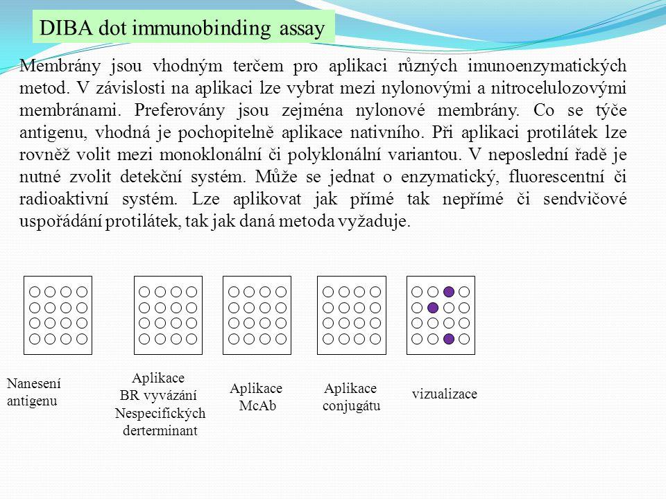DIBA dot immunobinding assay Membrány jsou vhodným terčem pro aplikaci různých imunoenzymatických metod. V závislosti na aplikaci lze vybrat mezi nylo