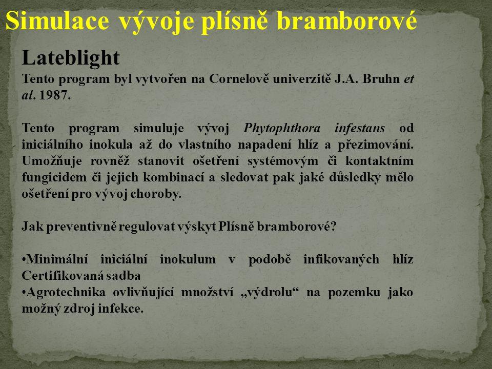 Simulace vývoje plísně bramborové Lateblight Tento program byl vytvořen na Cornelově univerzitě J.A. Bruhn et al. 1987. Tento program simuluje vývoj P