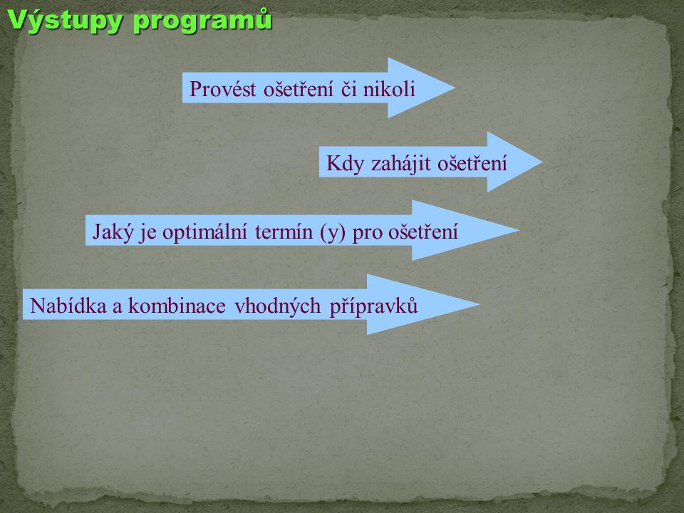 Výstupy programů Kdy zahájit ošetření Provést ošetření či nikoli Jaký je optimální termín (y) pro ošetření Nabídka a kombinace vhodných přípravků