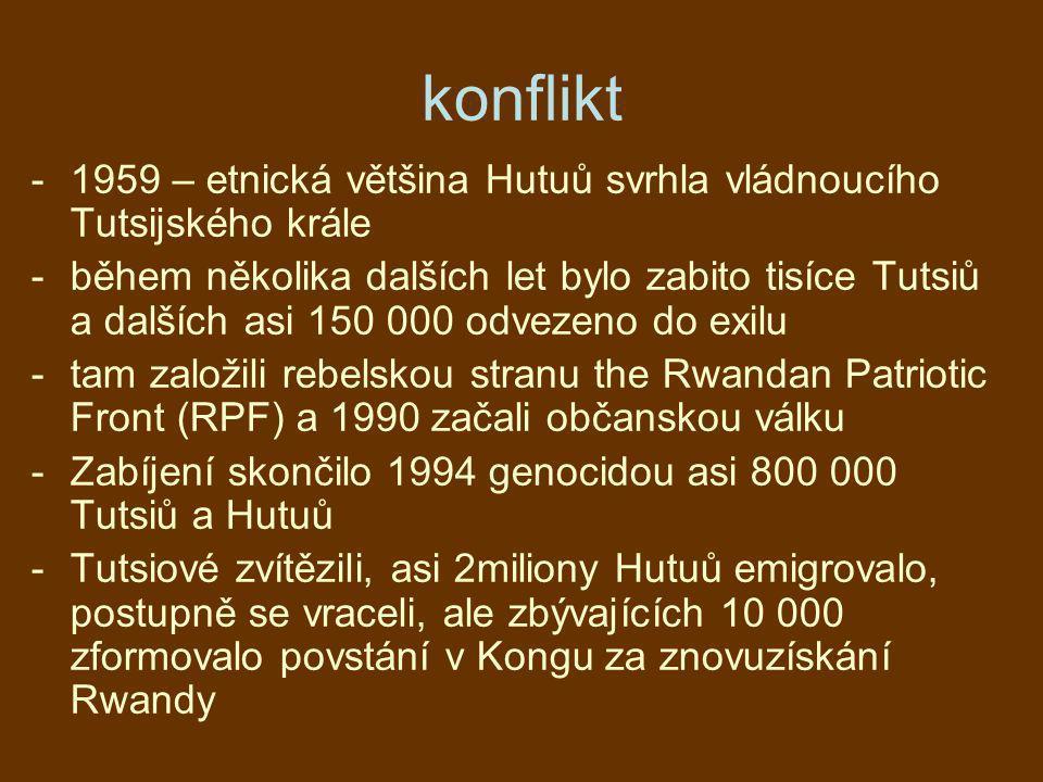 konflikt -1959 – etnická většina Hutuů svrhla vládnoucího Tutsijského krále -během několika dalších let bylo zabito tisíce Tutsiů a dalších asi 150 00