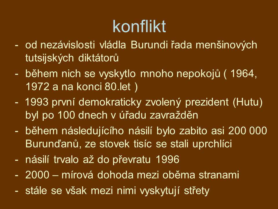 konflikt -od nezávislosti vládla Burundi řada menšinových tutsijských diktátorů -během nich se vyskytlo mnoho nepokojů ( 1964, 1972 a na konci 80.let