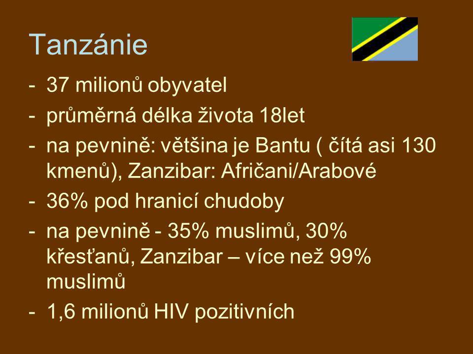 Tanzánie -37 milionů obyvatel -průměrná délka života 18let -na pevnině: většina je Bantu ( čítá asi 130 kmenů), Zanzibar: Afričani/Arabové -36% pod hr