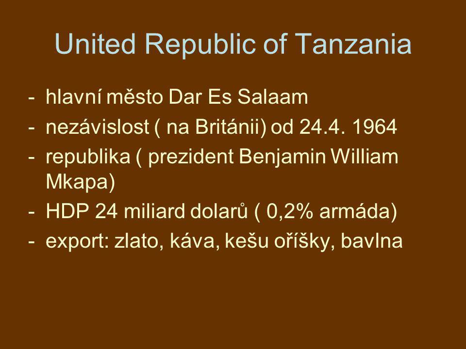 United Republic of Tanzania -hlavní město Dar Es Salaam -nezávislost ( na Británii) od 24.4. 1964 -republika ( prezident Benjamin William Mkapa) -HDP