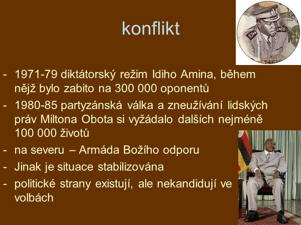konflikt -1971-79 diktátorský režim Idiho Amina, během nějž bylo zabito na 300 000 oponentů -1980-85 partyzánská válka a zneužívání lidských práv Milt
