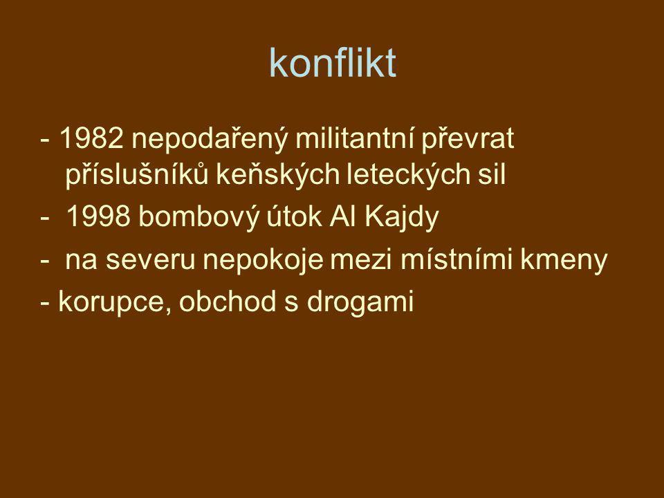 konflikt - 1982 nepodařený militantní převrat příslušníků keňských leteckých sil -1998 bombový útok Al Kajdy -na severu nepokoje mezi místními kmeny -