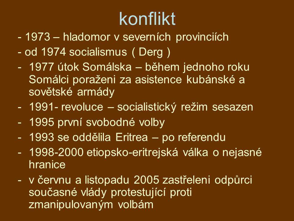 konflikt - 1973 – hladomor v severních provinciích - od 1974 socialismus ( Derg ) -1977 útok Somálska – během jednoho roku Somálci poraženi za asisten