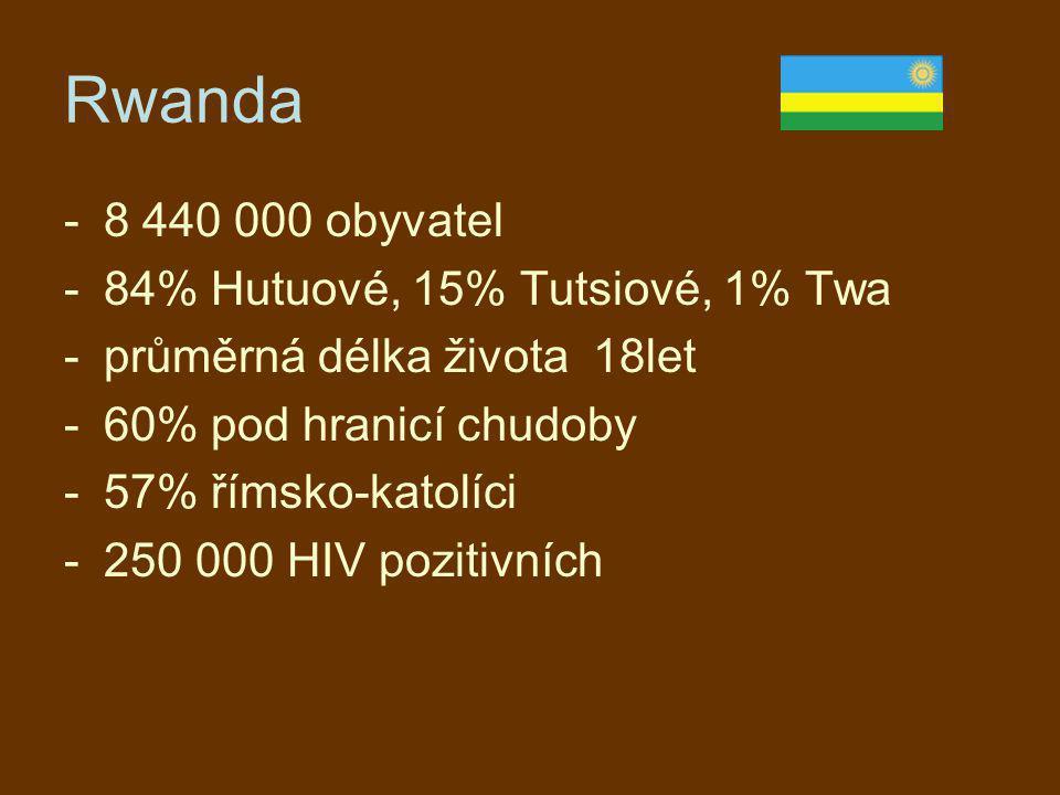Rwanda -8 440 000 obyvatel -84% Hutuové, 15% Tutsiové, 1% Twa -průměrná délka života 18let -60% pod hranicí chudoby -57% římsko-katolíci -250 000 HIV