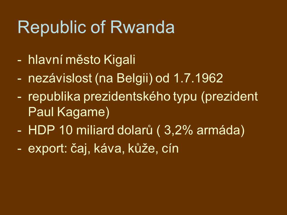 Republic of Rwanda -hlavní město Kigali -nezávislost (na Belgii) od 1.7.1962 -republika prezidentského typu (prezident Paul Kagame) -HDP 10 miliard do