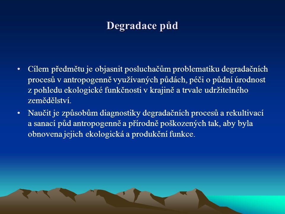 Degradace půd Cílem předmětu je objasnit posluchačům problematiku degradačních procesů v antropogenně využívaných půdách, péči o půdní úrodnost z pohledu ekologické funkčnosti v krajině a trvale udržitelného zemědělství.