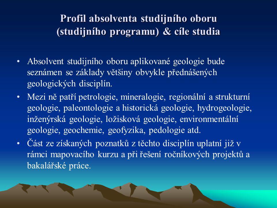 Profil absolventa studijního oboru (studijního programu) & cíle studia Absolvent studijního oboru aplikované geologie bude seznámen se základy většiny
