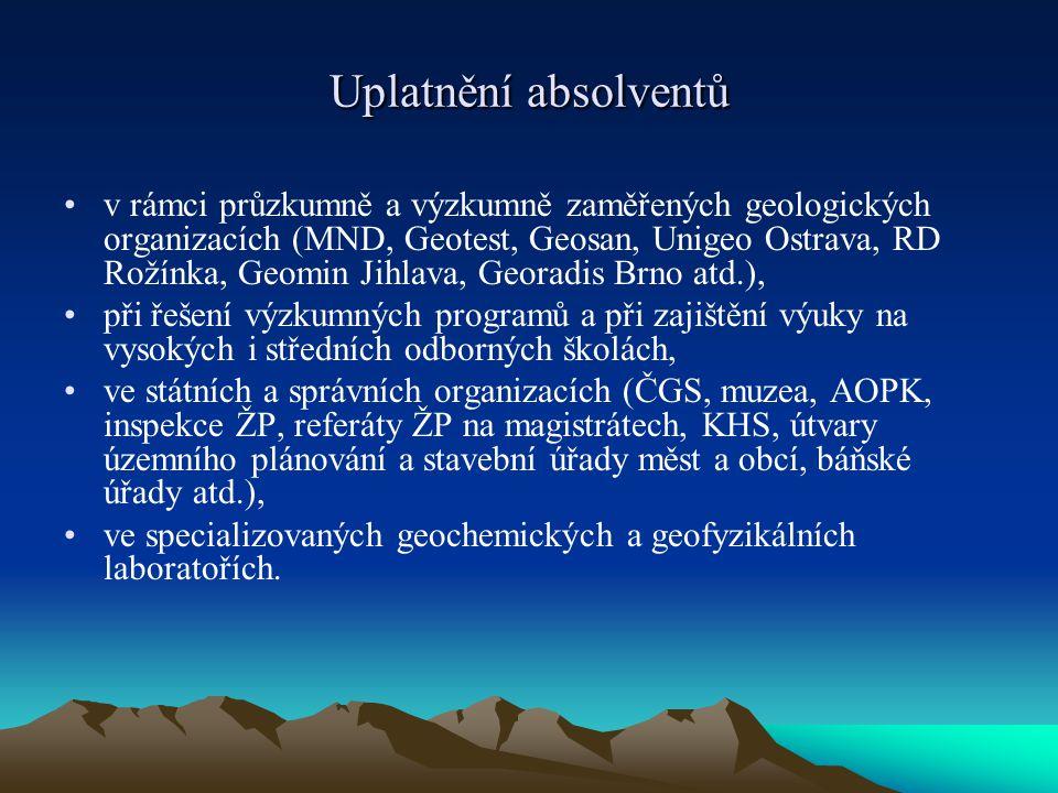 Uplatnění absolventů v rámci průzkumně a výzkumně zaměřených geologických organizacích (MND, Geotest, Geosan, Unigeo Ostrava, RD Rožínka, Geomin Jihla