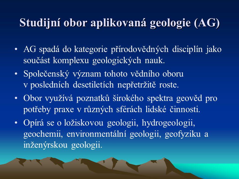 Studijní obor aplikovaná geologie (AG) AG spadá do kategorie přírodovědných disciplín jako součást komplexu geologických nauk. Společenský význam toho