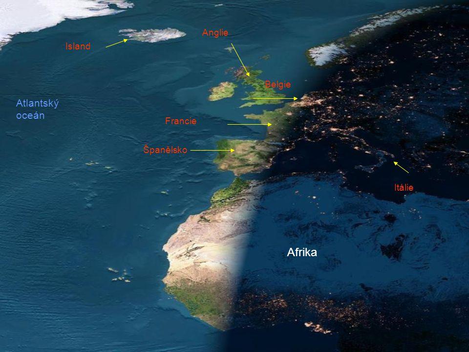 Francie Island Anglie Afrika Španělsko Atlantský oceán Belgie Itálie