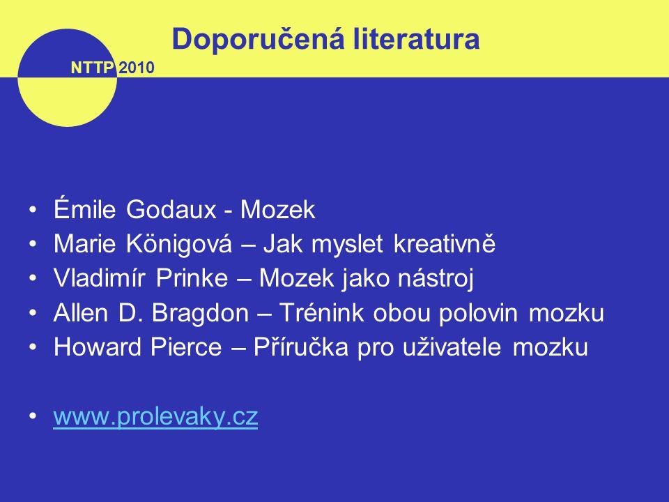 your name your caption here NTTP 2010 Doporučená literatura Émile Godaux - Mozek Marie Königová – Jak myslet kreativně Vladimír Prinke – Mozek jako nástroj Allen D.