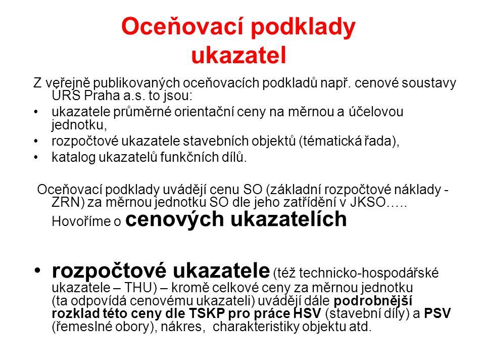 Oceňovací podklady ukazatel Z veřejně publikovaných oceňovacích podkladů např. cenové soustavy ÚRS Praha a.s. to jsou: ukazatele průměrné orientační c