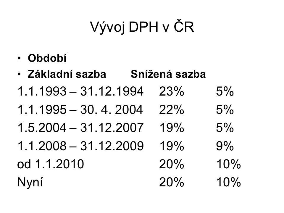 Vývoj DPH v ČR Období Základní sazbaSnížená sazba 1.1.1993 – 31.12.199423%5% 1.1.1995 – 30. 4. 200422% 5% 1.5.2004 – 31.12.200719%5% 1.1.2008 – 31.12.