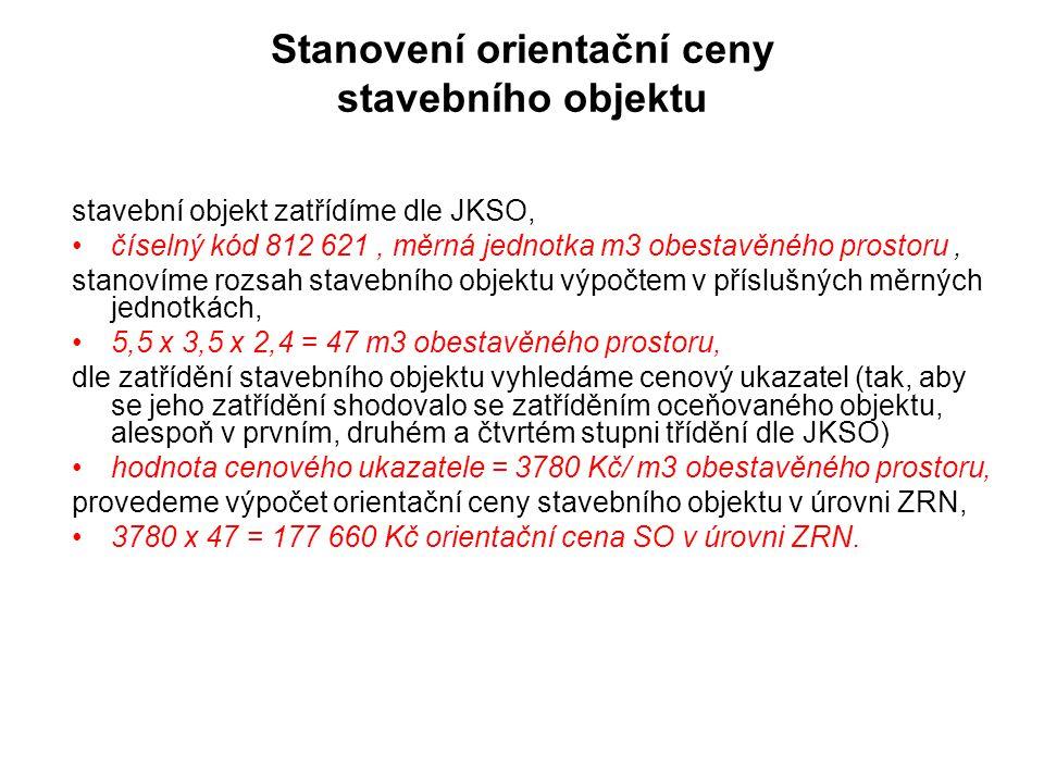 Stanovení orientační ceny stavebního objektu stavební objekt zatřídíme dle JKSO, číselný kód 812 621, měrná jednotka m3 obestavěného prostoru, stanoví