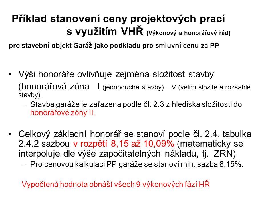 Příklad stanovení ceny projektových prací s využitím VHŘ (Výkonový a honorářový řád) pro stavební objekt Garáž jako podkladu pro smluvní cenu za PP Vý