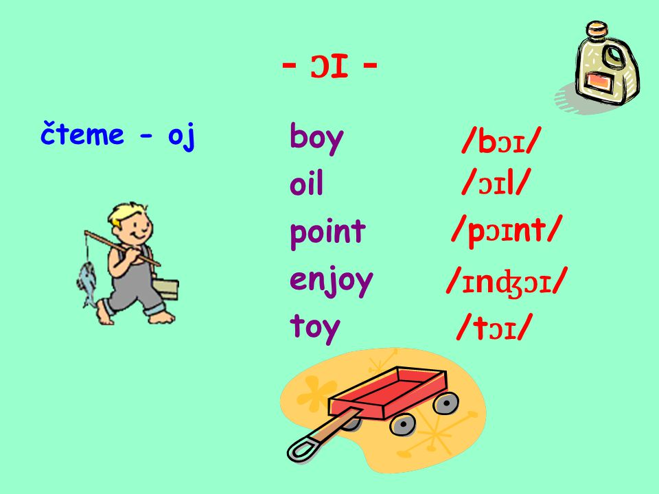 - ɔ I - čteme - oj boy oil point enjoy toy /b ɔ I / / ɔ I l/ /p ɔ I nt/ / I n ʤɔ I / /t ɔ I /