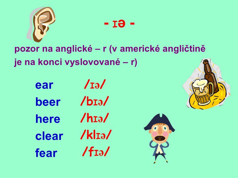 - eə - v americké angličtině je na konci vyslovované - r air hair chair pair fair /eə//eə/ / heə / /ʧeə//ʧeə/ / peə / / feə /