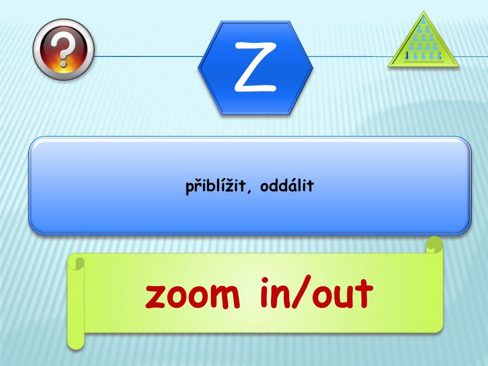 přiblížit, oddálit zoom in/out
