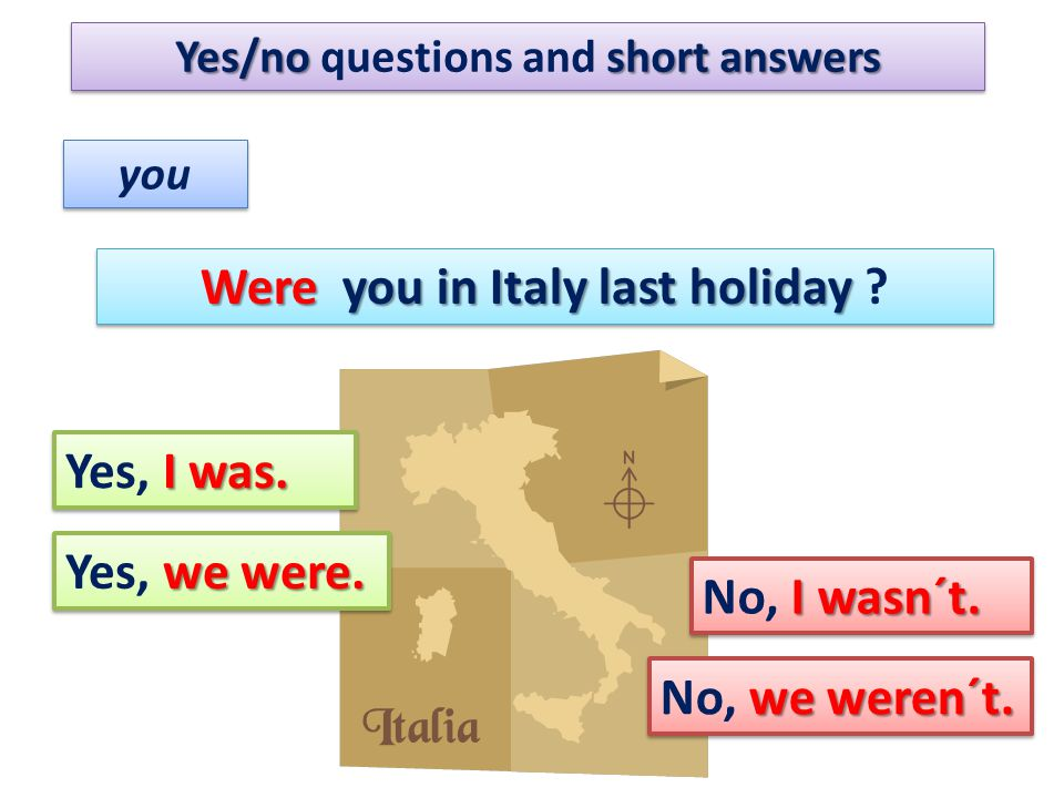 Yes/noshort answers Yes/no questions and short answers you Were you in Italy last holiday Were you in Italy last holiday ? we were. Yes, we were. Yes,