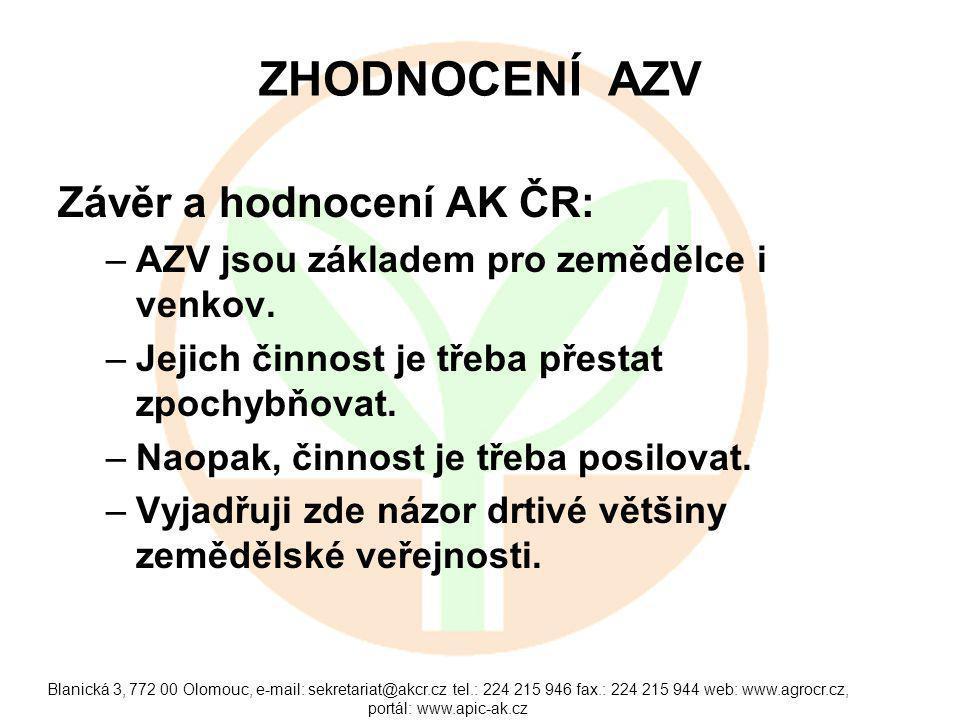Blanická 3, 772 00 Olomouc, e-mail: sekretariat@akcr.cz tel.: 224 215 946 fax.: 224 215 944 web: www.agrocr.cz, portál: www.apic-ak.cz ZHODNOCENÍ AZV Závěr a hodnocení AK ČR: –AZV jsou základem pro zemědělce i venkov.