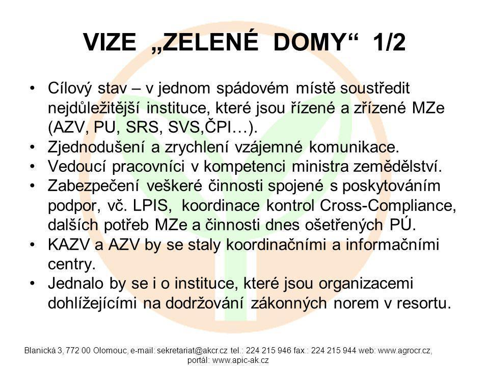"""Blanická 3, 772 00 Olomouc, e-mail: sekretariat@akcr.cz tel.: 224 215 946 fax.: 224 215 944 web: www.agrocr.cz, portál: www.apic-ak.cz VIZE """"ZELENÉ DOMY 1/2 Cílový stav – v jednom spádovém místě soustředit nejdůležitější instituce, které jsou řízené a zřízené MZe (AZV, PU, SRS, SVS,ČPI…)."""